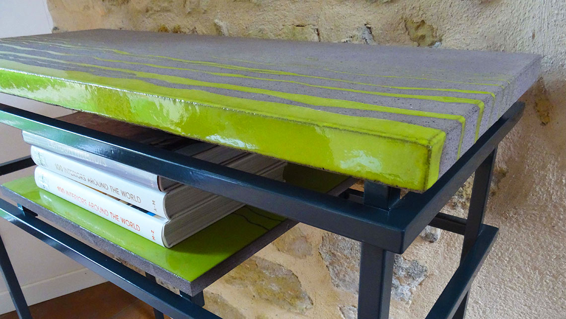 Enameled lava console table